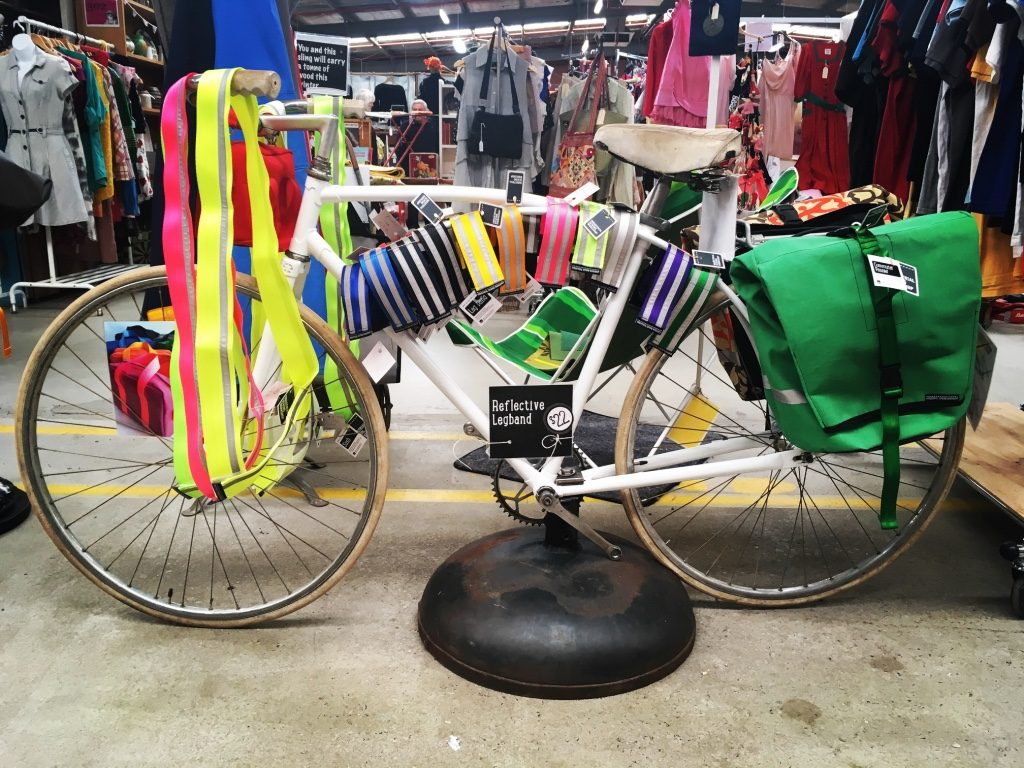 Bike Gear Display on vintage Malvern Star at Castlemaine Vintage Bazaar