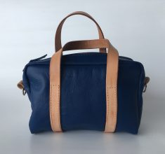 Blue kangaroo leather Mini Duffel bag with natural straps