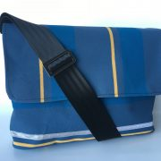 Canvas Satchel in Blue and yellow stripe