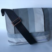 Canvas Satchel-Grey stripe