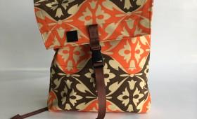 Canvas envelope backpack in vintage orange and brown canvas