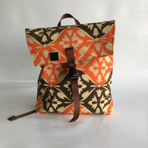 Canvas envelope backpack in vintage orange and brown canvas