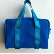 blue canvas mini bag