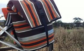 Canvas Pannier bag, brown and orange stripe