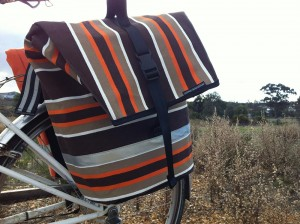 Canvas Pannier bag, brown and orange stripe