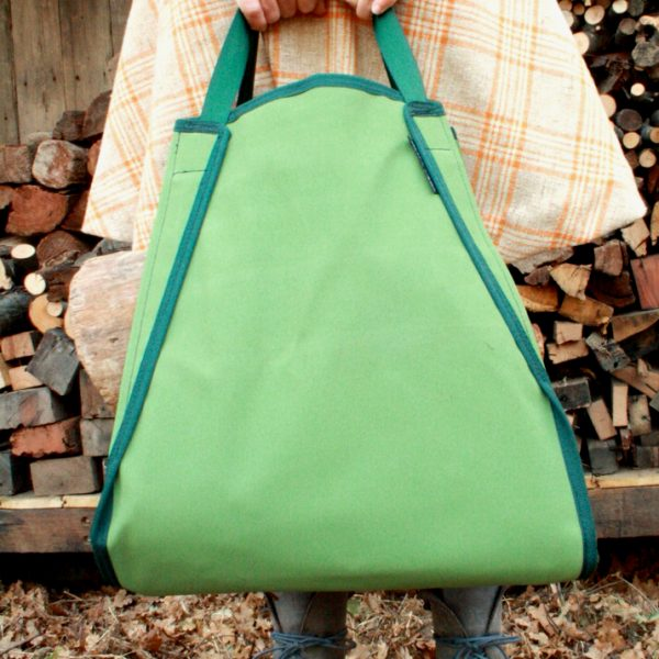 Wide Firewod sling in green canvas