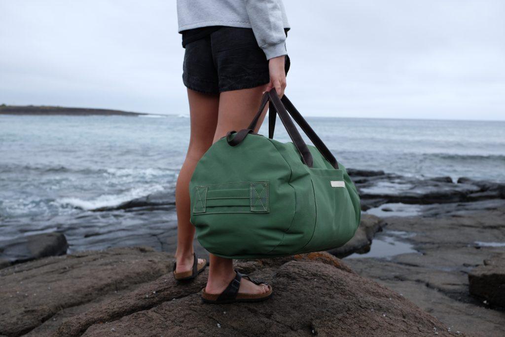 custom canvas duffel bag for Van Diemens Land Brand