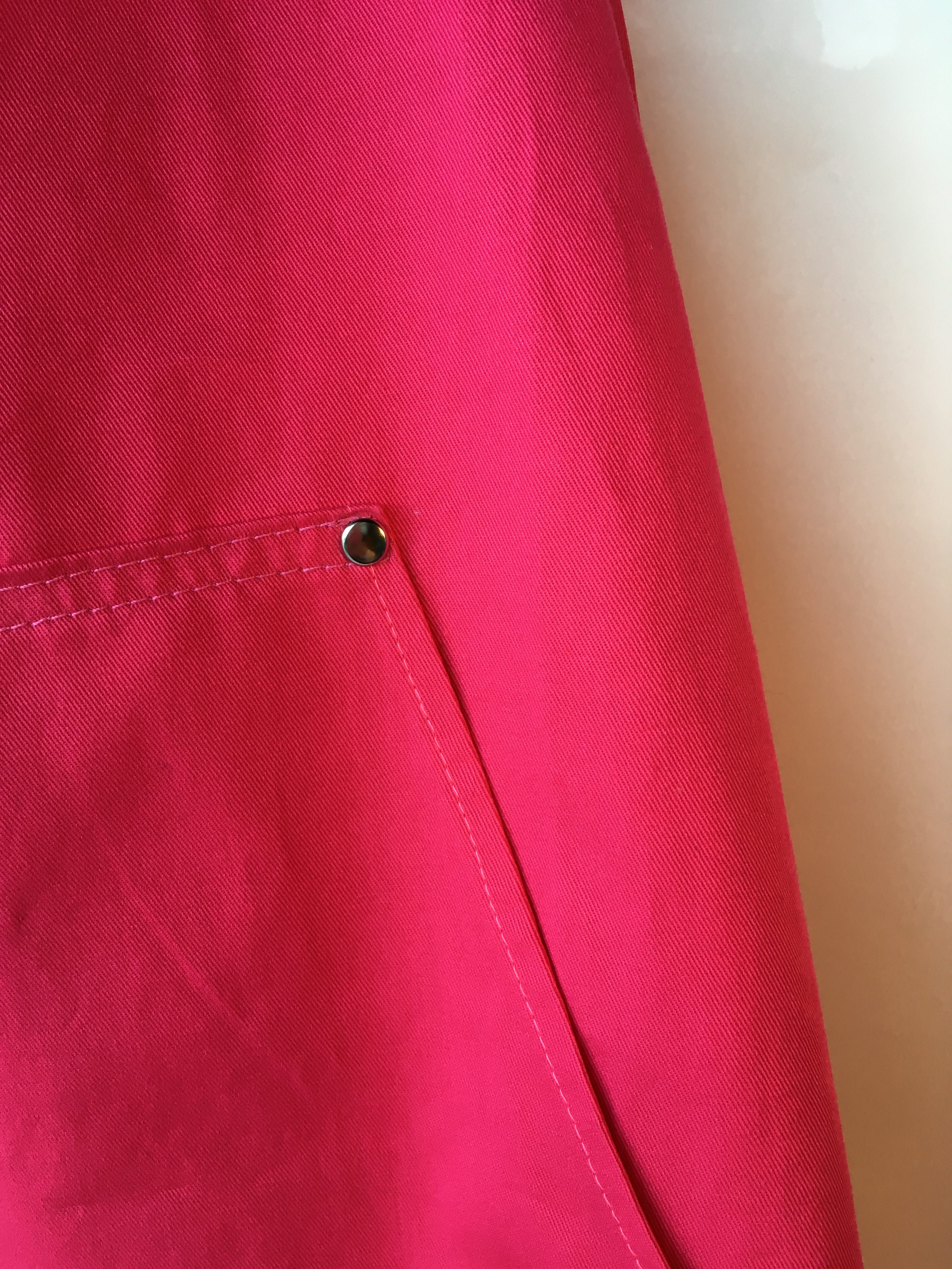 Coverall Apron in Hot Pink cotton drill - pocket detail