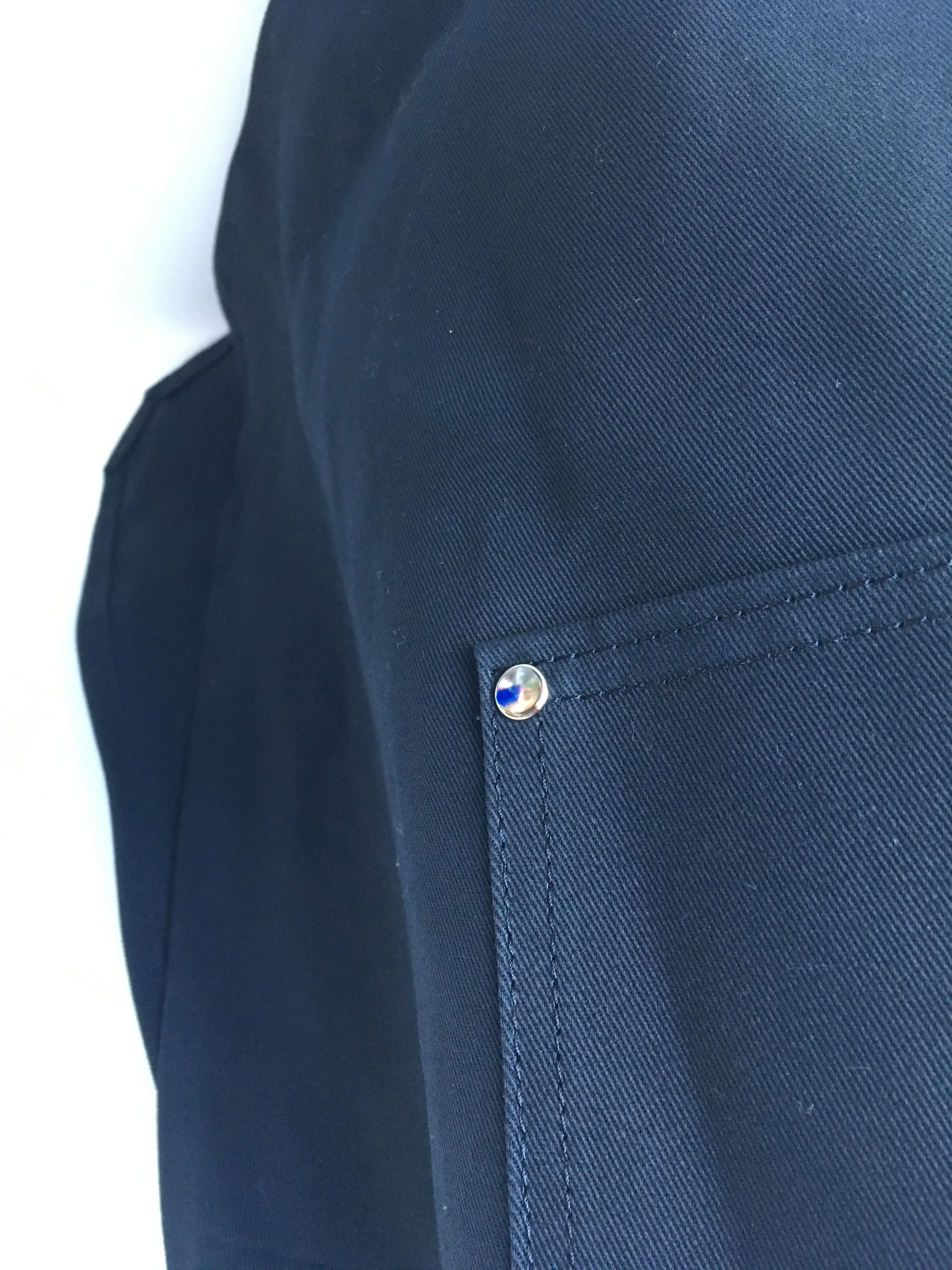 Coverall Apron in Black - pocket detail
