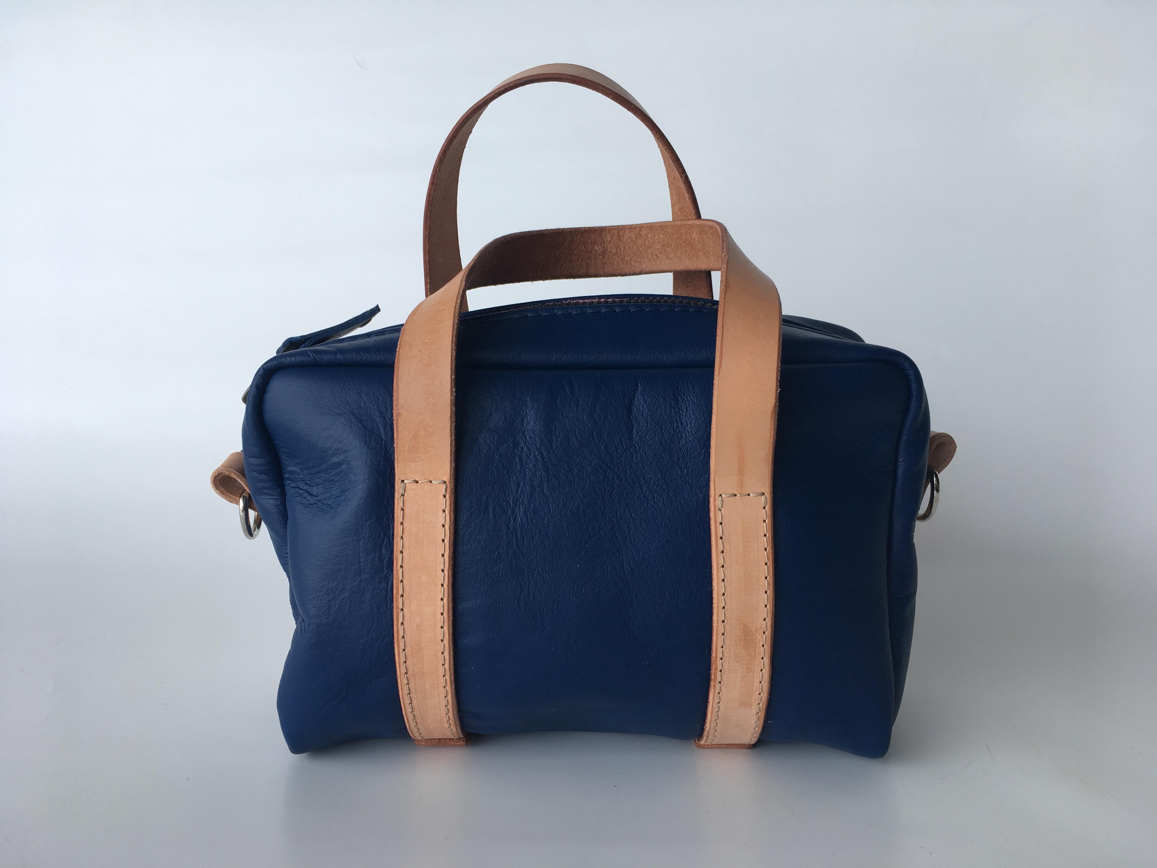 Blue kangaroo leather Mini Duffel bag with natural straps