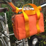 canvas mini duffel bag, on bike