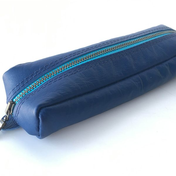 Blue kangaroo leather pencil case with cyan metal zip