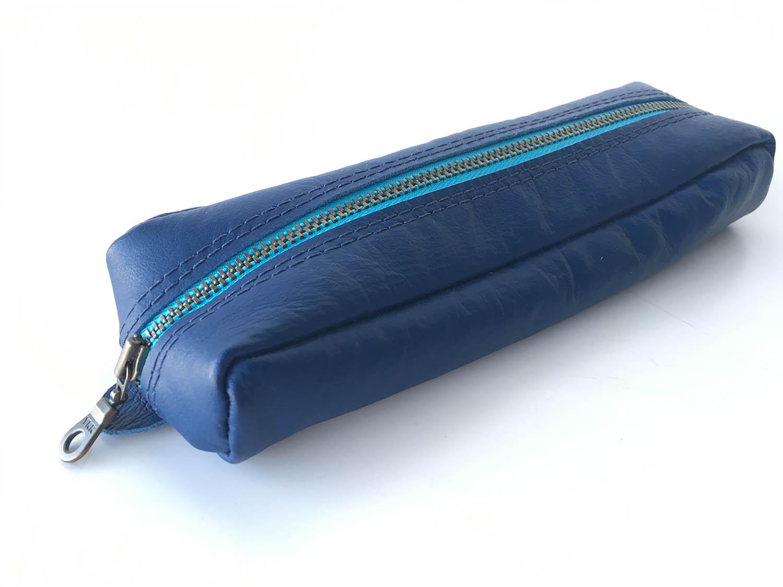 Blue kangaroo leather pencil case with cyan metal zip