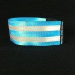 reflective legband for cyclists, horse riders and pedestrians, colour cyan, light blue