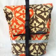 canvas commuter pannier - vintage canvas orange and brown brella