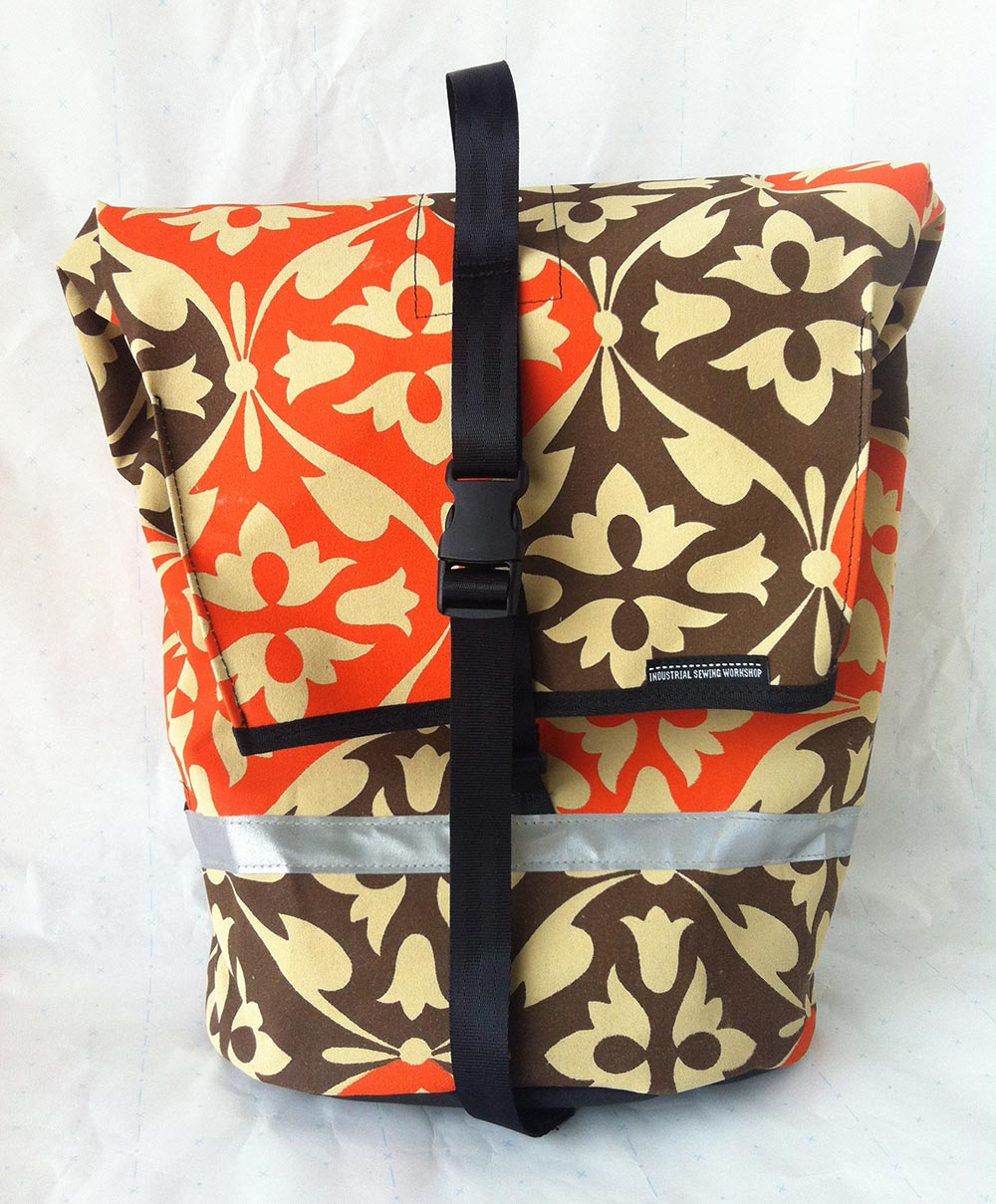 canvas commuter pannier - vintage canvas orange and brown brella