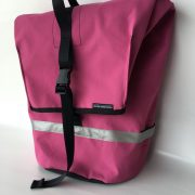 commuter pannier in pink ripstop canvas